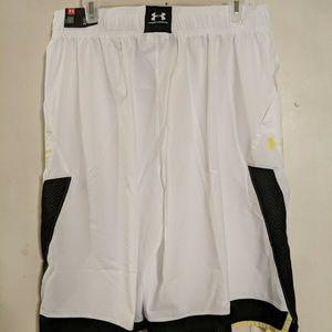 Under Armour Mens Shorts White/Black/Tokyo Lemon S